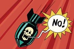 Bombe avec le crâne du cri perçant squelettique aucun illustration stock