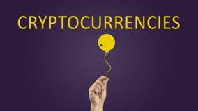 Bombe Cryptocurrency cryptocurrencies, die Risikokonzept veranschaulichen stockfoto
