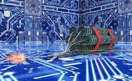 Bombe d'ordinateur de concept de terrorisme de Cyber d'isolement sur le blanc Photographie stock libre de droits