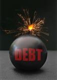 Bombe de dette Photographie stock libre de droits