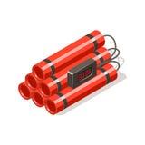 Bombe de dynamite avec la minuterie numérique Illustration de Vecteur
