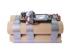 Bombe faite maison de terroriste avec le téléphone portable image libre de droits