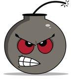 Bombe grise de couleur de bande dessinée avec les yeux rouges illustration libre de droits