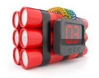 Bombe mit Timer 3D. Count-down. Ikone auf Weiß Stockfotografie