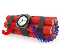 Bombe à retardement avec le détonateur de dynamite et d'horloge sur le blanc Photographie stock libre de droits
