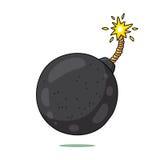 Bombe ronde avec un fusible allumé Images stock