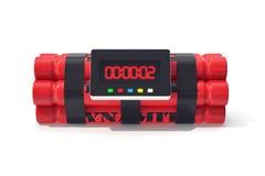 Bombe rouge de dynamite de TNT avec une minuterie d'isolement sur le fond blanc illustration 3D Images libres de droits
