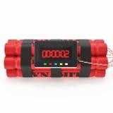 Bombe rouge de dynamite de TNT avec une minuterie sur un fond blanc Illustration de Vecteur