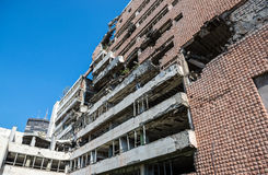 Bombed building in Belgrade. Former Yugoslav Ministry of Defence building destroyed during NATO bombing in Belgrade city, Serbia stock image