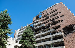 Bombed building in Belgrade. Former Yugoslav Ministry of Defence building destroyed during NATO bombing in Belgrade city, Serbia royalty free stock photos