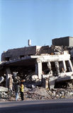 Bombed Building in West Bank Stock Photo