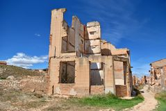 Bombed house in Belchite Royalty Free Stock Images