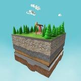 bombee el enchufe en la pequeña tierra de la rebanada con los árboles, las nubes, la piedra del suelo de las capas y el aceite má Fotos de archivo