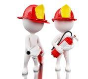 bombeiro 3d com helment, mangueira e extintor Imagem de Stock
