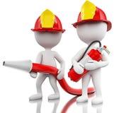 bombeiro 3d com helment, mangueira e extintor Imagens de Stock Royalty Free