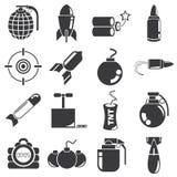Bomben- und Waffenikonen Lizenzfreie Stockbilder