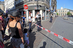 Bombendrohung in Lille, Frankreich Lizenzfreies Stockfoto
