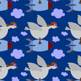 Bomber bird seamless background design Royalty Free Stock Image