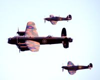Bomber and fighter patrol. The skies taken from above Royalty Free Stock Photo
