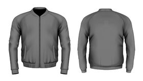 Bomber jacket in black. Front and back views. Vector illustration Stock Image