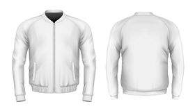 Bomber jacket in white. Front and back views. Vector illustration Royalty Free Stock Photo