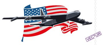 Bomber. Military strategic bomber in the background of the American flag Stock Photography