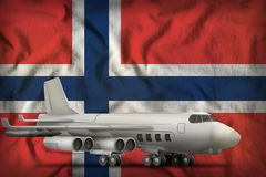 Bomber on the Norway state flag background. 3d Illustration. Bomber on the Norway flag background. 3d Illustration royalty free stock photos