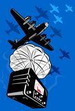 Bomber plane parachute radio Stock Image