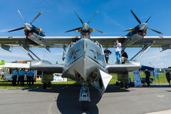 Bomber, reconnaissance and air-sea rescue flying boat, Dornier Do 24ATT Amphibian modern replica. BERLIN, GERMANY - MAY 21, 2014: Bomber, reconnaissance and air royalty free stock photography