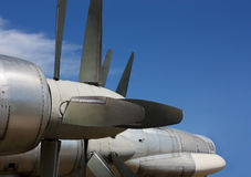 Bomber Tu-95 Bear, front part of the aircraft. Cockpit, nose, motors and vanes of the Russian long-range strategic bomber Tu-95 Bear Royalty Free Stock Image