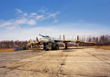 Bomber Tu-95 Bear, front view Royalty Free Stock Image