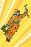 Bombero, ayuda del super héroe del vuelo del bombero stock de ilustración