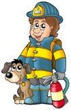 Bombero con el perro y el extinguidor ilustración del vector