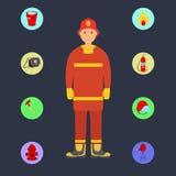 Bombero con los iconos de los servicios de incendios Imagenes de archivo