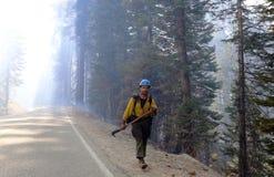 Bombero Fighting Wildfires Imagen de archivo libre de regalías