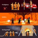 Bombero horizontal People Banners Set ilustración del vector