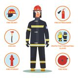 Bombero o bombero con el casco y la boca de riego stock de ilustración