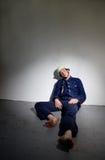 Bombero retro agotado Foto de archivo libre de regalías