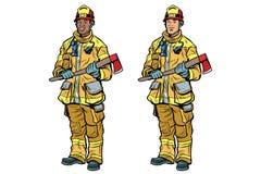 Bomberos afroamericanos y caucásicos en uniforme con las hachas stock de ilustración