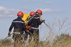 Bomberos que apagan el fuego del arbusto Imagen de archivo