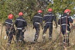 Bomberos que apagan el fuego del arbusto Fotos de archivo