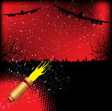 Bombers. Abstract colorful illustration with two bomber silhouettes dropping bombs over a town during the night. War concept Stock Image