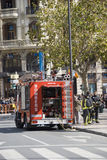 Bombers. During Las Fallas there is a lot of fireworks in Valencia. The bombers are there for protection during this easter event Stock Image