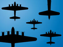 Bombers formation. Formation of american bombers B-17 from second world war. Vector illustration Royalty Free Stock Image