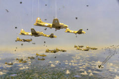 Bombers in Formation Diorama. Diorama of bombers in formation simulating the bombing run on Berlin during WWII Royalty Free Stock Images