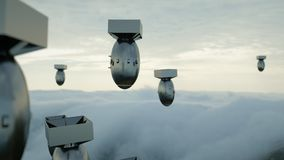 Bombes en baisse contre le ciel foncé Atom Bomb rendu 3d Photographie stock