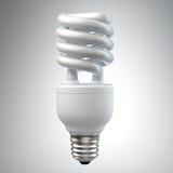 Bombilla ahorro de energía blanca en blanco Foto de archivo