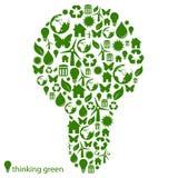 Bombilla ambiental verde ilustración del vector