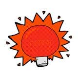 bombilla cómica de rojo que destella de la historieta Imagen de archivo libre de regalías