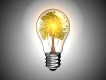 Bombilla con el árbol adentro él y luz ilustración del vector